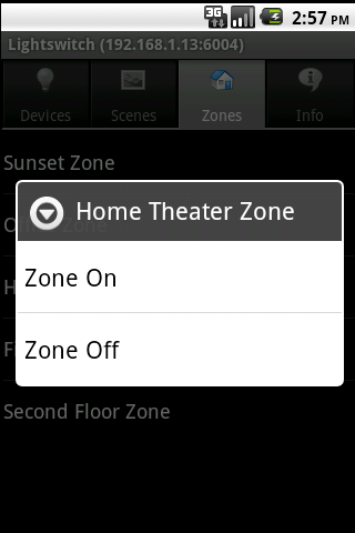 Lightswitch Android Zones