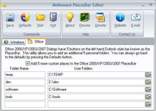 PlacesBar Office Editor