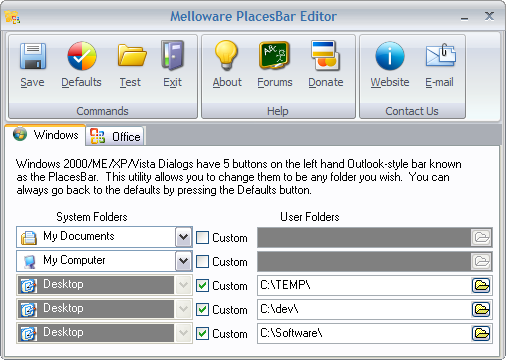 PlacesBar Windows Editor